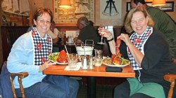 Robin (left) and Jane loving the lobster at The Fish Factory in Lunenburg, Nova Scotia
