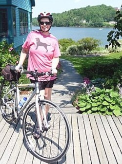 Robin is ready for bicycle ride in Mahone Bay, Nova Scotia