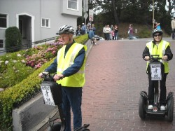 Bob and Ginny traveling down Lombard Street in San Francisco.