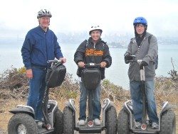 Bob (left), Ginny, and Chris McDermott at Angel Island State park in San Francisco Bay.