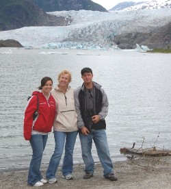 Julianne, Betty center, and Lou with the the Mendenhall Glacier in the background