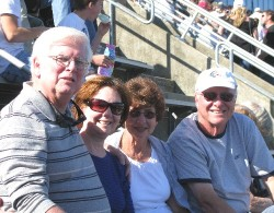 Bill and Diane Reilly (left), and Rachel and Jim Farley in the Michie Stadium at the United States Military Academy at West Point.