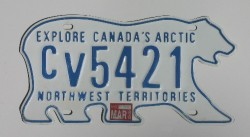 A polar-bear-shaped license plate from Northwest Territories