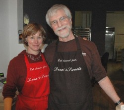 Kristin Thalheimer and Dean Bingham in their new store on 82 Middle Street in Portland, Maine