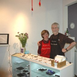 Kristin and Dean in their new store on 82 Middle Street in Portland, Maine