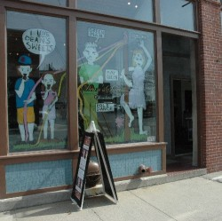 Nicole Chaisson`s Hausfrau graphics decorate the store front