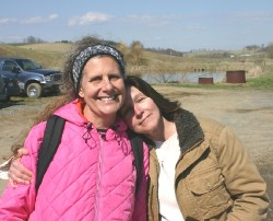 Childhood friend Cindy Quick (right) joined Diane on the farm tour