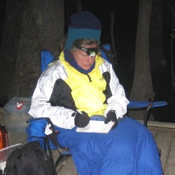 Diane works on her notes during a camping trip in early April