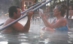 Immersion journalism for story on hot-springs pool in Glenwood Springs, Colo.