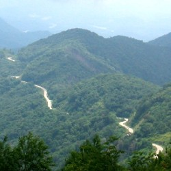 View on the curving Cherohala Skyway from the Spirit Ridge outlook on the North Carolina side of the Skyway