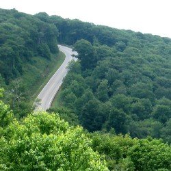 View on the curving Cherohala Skyway connecting North Carolina and Tennessee