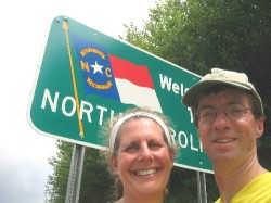 Diane and mysterious friend later husband Wessel at the North Carolina-Tennessee state line