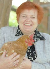 Candy Harrington with her favorite chicken Agnes