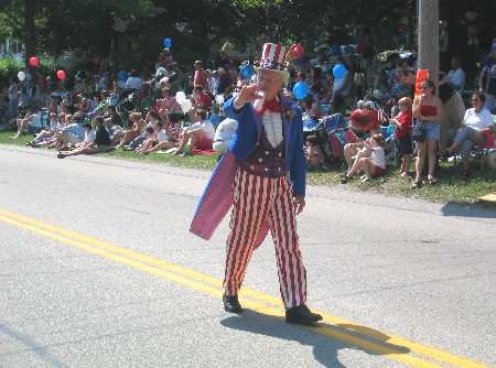 Uncle Sam in parade in Hingham, Mass.