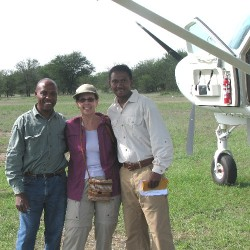 Debra with guides before boarding the plane to leave the Serengeti to Arusha, Tanzania