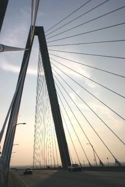 The Arthur Ravenel Jr. Bridge connects Charleston with Mount Pleasant