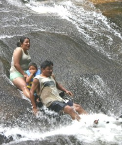 Family plunges in cold pool