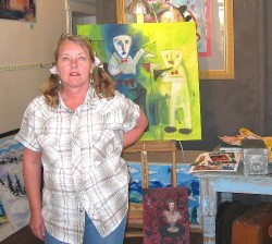 Pauline Brodeur in her art gallery on 151 West 1st Street
