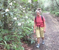 Diane walks the Little Cataloochee trail