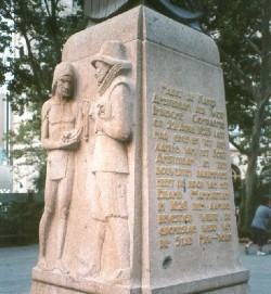 Memorial for Dutch buying Manhattan from Native Americans in Battery Park, New York City