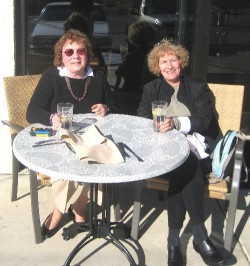 Mary Plummer (left) and Maddy Entel dining outside at Nancy Paterson's Bistro in Montgomery, AL