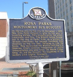 Historic sign commemorating Rosa Parks` role in the Montgomery Bus Boycott