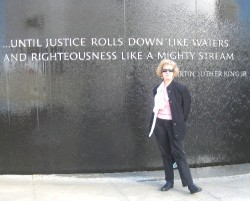 Maddy in front of the Civil Rights Memorial