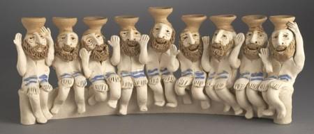 A handcrafted sculptural menorah