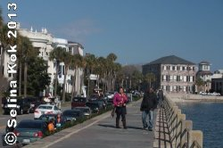 People stroll on the Battery, a landmark promenade along the Charleston peninsula