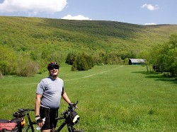 Lukas Herbert takes a break during a bike ride through the Harlem Valley. The route is now part of the the Hudson Valley tour. (NOTE: this was taken a few years ago before the tours). Photo by Eric Wilson